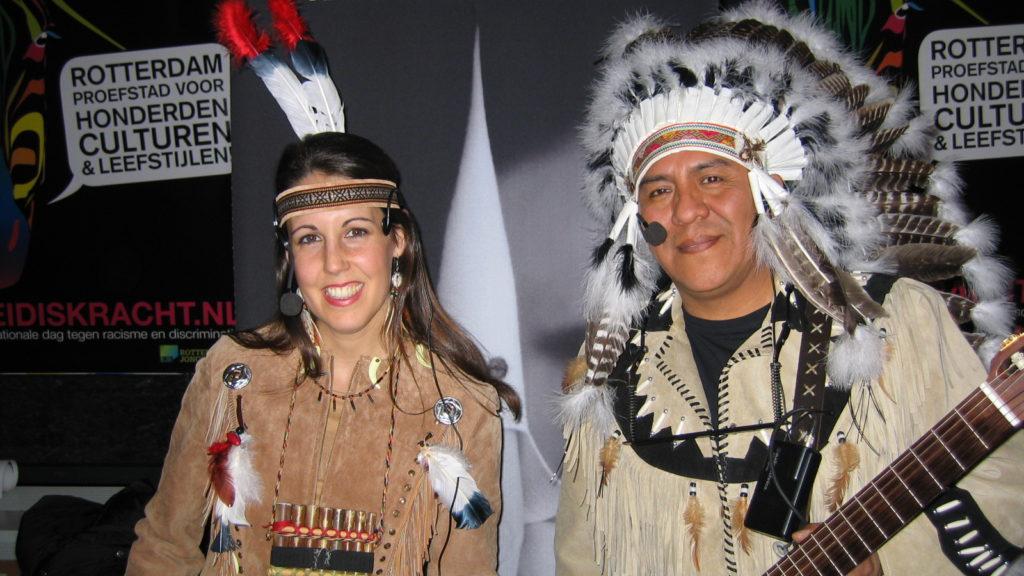 Indianen Apache-duo, panfluiten muziek
