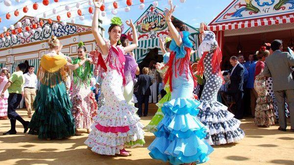 Spaanse danseressen, flamenco, feria, danseuses, flamenco dancers